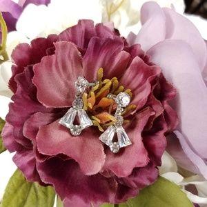 Vintage Art Deco Crystal Dangle Clip On Earrings